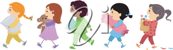 Illustration of Kids Going to a Slumber Party