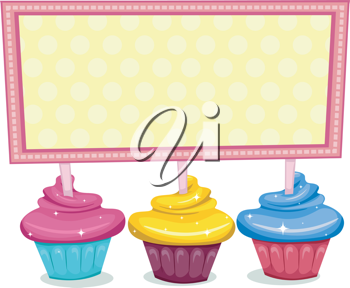 Illustration of a Board Sitting on Cupcakes