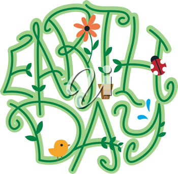 Illustration of Vines Forming the Word Earth Day