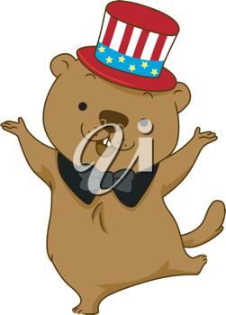 Illustration of a Groundhog Dancing Happily