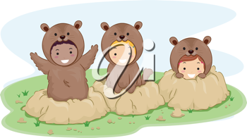 Illustration of Kids Dressed in Groundhog Costumes