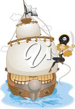 Royalty Free Clipart Image of a Girl on the Side of a Pirate Ship