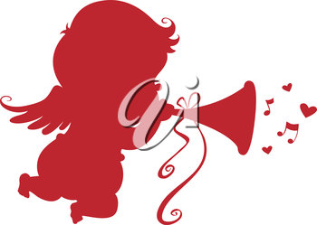 Royalty Free Clipart Image of a Cupid Playing Trumpet