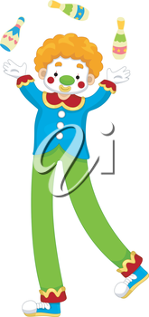 Royalty Free Clipart Image of Juggling Clown