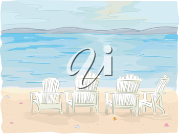 Royalty Free Clipart Image of Chairs on a Beach