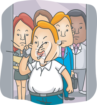 Royalty Free Clipart Image of a Man With a Cellphone in a Crowded Elevator