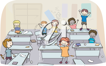 Royalty Free Clipart Image of Children in a Classroom