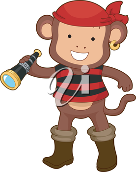 Royalty Free Clipart Image of a Monkey Pirate With a Telescope