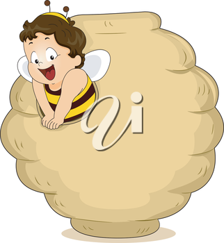 Royalty Free Clipart Image of a Child in a Bee Costume Coming From a Hive