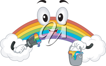 Royalty Free Clipart Image of a Rainbow Holding Paint and a Brush