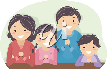 Royalty Free Clipart Image of a Family Praying
