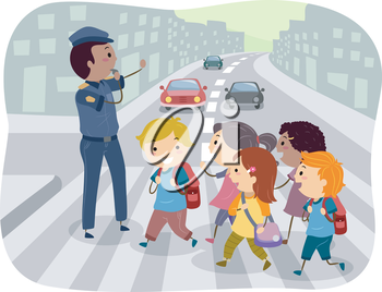 Royalty Free Clipart Image of Children Crossing at a Crosswalk