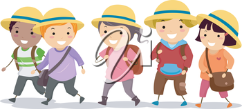 Royalty Free Clipart Image of a Children All Wearing the Same Hat