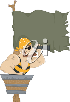 Royalty Free Clipart Image of a Pirate in a Crow's Nest