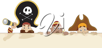 Royalty Free Clipart Image of Pirates Behind a Blank Board