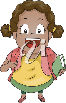 Top View Illustration of a Kid Girl Student wearing a Backpack carrying a Book