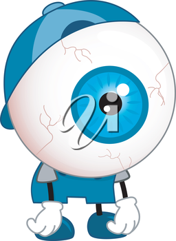 Illustration of Tired Eyeball Mascot wearing Blue Shirt, Cap and Shoes