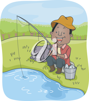 Illustration of an African-American Man Out Fishing with His Dog
