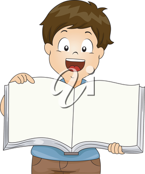Illustration of Kid Boy holding an Open Blank Book