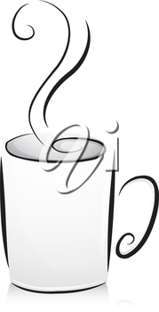 Black and White Illustration of a Coffee Cup Filled with Hot Coffee to the Brim