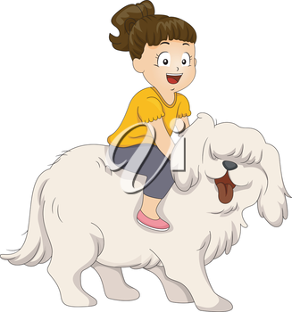 Illustration of a Little Girl Sitting on the Back of Her Dog
