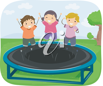 Illustration of Kids Bouncing Up and Down on a Trampoline