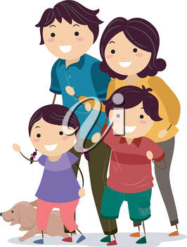 Illustration of a Stickman Family Looking to Their Right Before Crossing the Street