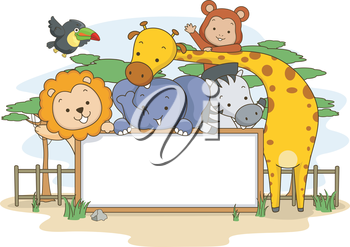 Banner Illustration Featuring Jungle Animals Posing for a Group Photo