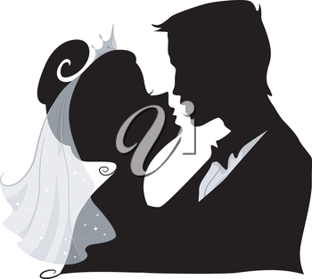 Illustration Featuring the Silhouette of a Bride and Groom Kissing