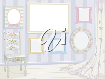 Illustration Featuring a Variety of Frames Sporting a Shabby Chic Design