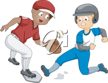 Illustration Featuring a Boy Trying to Reach the Base Before the Other Catches the Ball