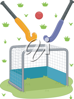 Illustration Featuring Field Hockey Equipment