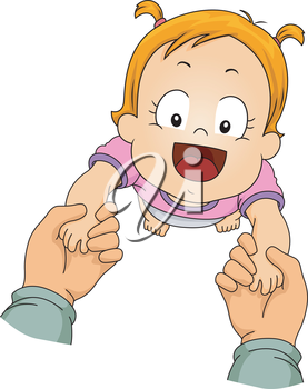Illustration Featuring a Baby Girl Being Guided Through Her First Steps