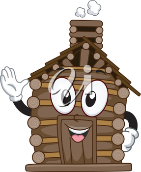 Mascot Illustration Featuring a Waving Log Cabin