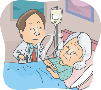Illustration Featuring a Doctor Checking on a Patient During One of His Rounds
