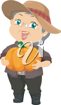 Illustration Featuring an Elderly Woman Proudly Holding a Pumpkin She Harvested