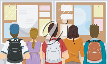 Illustration Featuring a Group of Students Gathered in Front of a Bulletin Board
