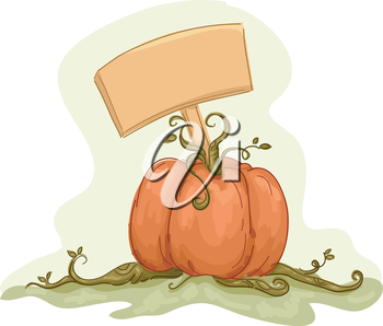 Illustration Featuring a Pumpkin with a Blank Board Stuck on It