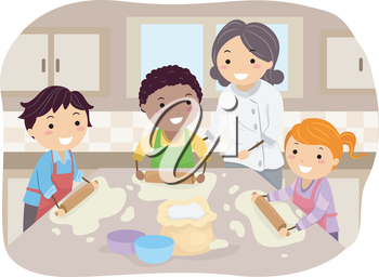 Illustration of Kids Making Homemade Pizza Under the Guidance of a Chef