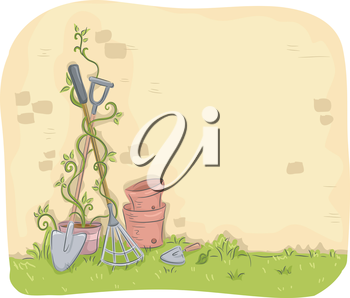 Illustration of Garden Tools Leaning Against a Wall