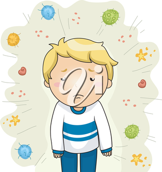 Illustration of a Sick Boy Surrounded by Different Strains of Viruses