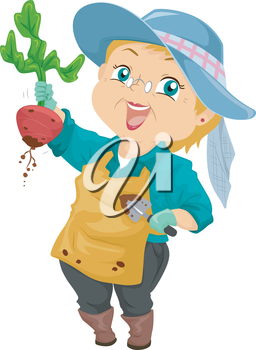 Illustration of a Proud Senior Citizen Showing the Beet She Harvested