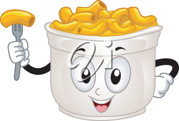 Mascot Illustration of a Cup of Mac and Cheese