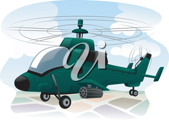 Illustration of an Assault Helicopter in the Middle of a Reconnaissance Mission