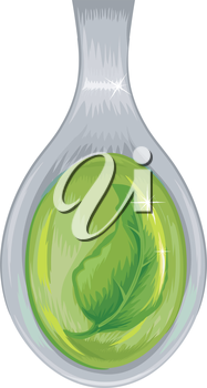 Illustration of a Spoon Filled with a Green Tincture
