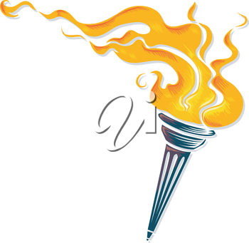 Illustration of a Torch with Flames Raging Wildly