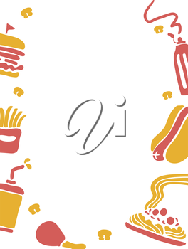 Frame Illustration of Food Commonly Served at Fast Food Chains