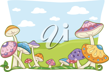Background Illustration Featuring Colorful and Whimsical Mushrooms