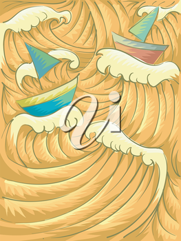 Background Illustration of Giant Waves Reflecting the Color of Sunset