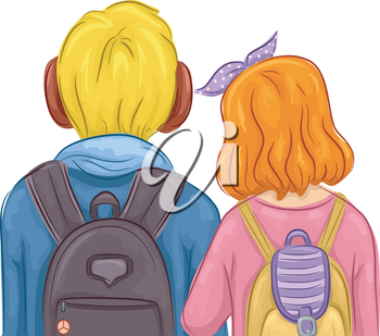Back View Illustration of a Young Couple Walking Side by Side